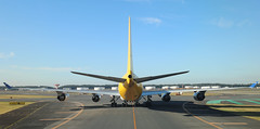 Polar Air Cargo / DHL B747-400F N416MC taxiing to the gate at NRT/RJAA (Jaws300) Tags: tokyonaritanrtrjaa polaraircargo blueskies bluesky canon5d rearview tail yellowtail jumbojet taxiing polar air cargo dhl arrival arriving narita japan international airport rjaa nrt freight freighter airlines b747400 boeing b744 b744f b747 b747f b747400f n416mc airplane aircraft jet rear butt buttend ass assend winglets 416 taxiway runway ramp apron stand gate terminal parking apu exhaust rudder verticalstabilizer vertical stab stabilizer generalelectric ge cf6 cf680 elevator outflow valve outflowvalve