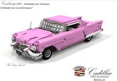 Cadillac 1957 Eldorado Seville (lego911) Tags: cadillac eldorado seville coupe hardtop 1957 1950s classic v8 fins chrome harley earl luxury usa america american auto car moc model miniland lego lego911 ldd render cad povray foitsop