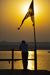 "Watching The Dawn Sun Rise Over The Ganges (El-Branden Brazil) Tags: varanasi india indian ganges ganga ceremony hindu hinduism asian asia sacred holy mystical ""south asia"" sadhu"
