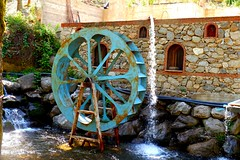 Blue wheel (Jehan Al-Maghamsi) Tags: rock house green tree wheel blue river water istanbul turkey spring