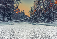 Frozen river (kubaszymik) Tags: ice cold january winter river creek path beskidy poland mountains snow colors canon hdr