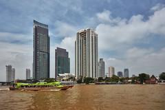 Bangkok – View from Bang Rak (Thomas Mülchi) Tags: residenceoftheembassyoffrance bangrakdistrict bangkok 2018 chaophrayariver boat transport highrise thailand bangkokmetropolitanregion th