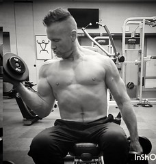 seated bicep curls (ddman_70) Tags: shirtless pecs abs muscle gym workout biceps