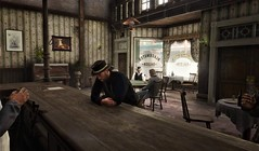 """"""" A Shot of Whiskey Please """" (maka_kagesl) Tags: second secondlife sl life game gaming virtual videogame bar drink saloon west cowboy wood table tables chair chairs hat"""