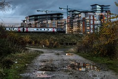 Leeds City Voyager (Andrew Shenton) Tags: leeds city dusk cross country train railway station holbeck water lane reflection class 220 1v62