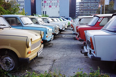 Trabis in the morning (Eric Flexyourhead) Tags: trabiworld berlin germany deutschland federalrepublicofgermany bundesrepublikdeutschland city urban car carspotting german trabant trabi old vintage retro sonyalphaa7 zeisssonnartfe35mmf28za zeiss 35mmf28
