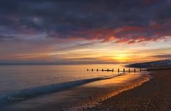 Golden wash. (Through Bri`s Lens) Tags: sunset sussex beach sea hightide backwash clouds brianspicer canon5dmk3 canon1635f4 leereversegradfilter