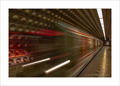 Infinity & beyond (prendergasttony) Tags: train metro underground nikon d7200 light lines speed dejvice tiles station platform prague tunnel lights red stripes