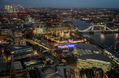 Aerial view of Canary Wharf and Tower Bridge (In explore 14/12/2018) (EricMakPhotography) Tags: london sky garden aerial view thames river tower bridge canary wharf dusk night
