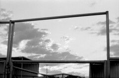 Big Screen (squirtiesdad) Tags: clouds sunset corrals big screen pentax spotmatic sp super takumar 55mm f18 diyselfscanning selfdeveloped epson v600 monochrome blackandwhite bw bn analog analogue arista aristaedu iso100 35mm film
