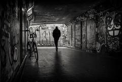 bristol underground (Daz Smith) Tags: dazsmith fujifilmxt3 xt3 fuji bath city streetphotography people candid portrait citylife thecity urban streets uk monochrome blancoynegro blackandwhite mono bristol graffiti mural tunnel underground silhouette