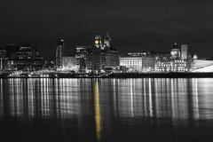 Liverpool Waterfront Selective Colour (David Chennell - DavidC.Photography) Tags: liverpool merseyside selectivecolour bw liverpoolwaterfront cityscape