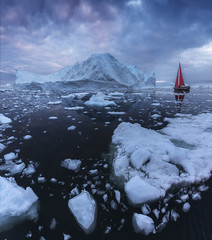 Red Sailing Boat in Greenland (Iurie Belegurschi www.iceland-photo-tours.com) Tags: adventure arctic beautiful cloudy clouds cold coastal daytours dreamscape earth enchanting extremeterrain extreme fineart fineartlandscape fineartphotography fineartphotos guidedphotographyworkshops guidedphotographytour icelandphototours iuriebelegurschi landscape landscapephotography landscapephoto landscapes landscapephotos nature outdoor outdoors overcast ocean phototours phototour summer tours travel travelphotography view workshop workshops water sailing sailboat sails redsailboat redsails redboat ice iceberg icebergs icy sea floating
