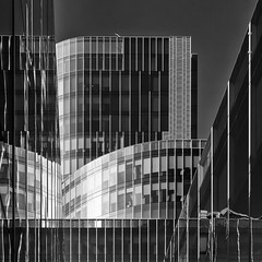 Glass and Steel (Leipzig_trifft_Wien) Tags: barcelona catalunya spanien es building facade modern reflection temporary form shape structure architecture blackandwhite bnw black white grey city urban light shadow glass steel lines