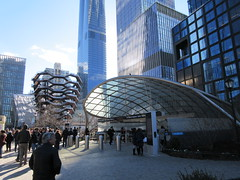 Vessel Stair Case Sculpture Dingus at Hudson Yards 4170 (Brechtbug) Tags: 2019 march visiting the vessel sculpture hudson yards tower near 34th street midtown manhattan new york city nyc 03172019 west side construction center cityscape architecture urban landscape scape view cityview shadow silhouette december close up skyline skyscraper railroad rail yard train amtrak tracks below grown stair stairs buildings above staircase dingus