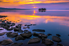 sunset 3661 (junjiaoyama) Tags: japan sunset sky light cloud weather landscape orange color lake island water nature fall autumn reflection calm dusk serene rock
