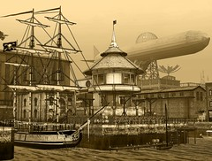 Pirates of New Babbage (Inner Space Explorer) Tags: sl second life new babbage steampunk pirate ship airship building harbor