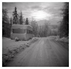 (2018) (phamnes) Tags: frost snow caravan norway winter blackandwhitefilm mediumformatfilm 120film adonal fomapan100 fomapan foma toycamera plasticlens plasticcamera dianacamera dianaclone windsor620