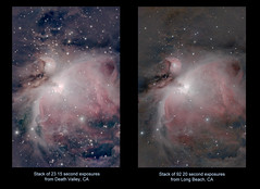 The Orion Nebula, without and with light pollution (astrothad) Tags: space cosmos astronomy astrophoto nebula lightpollution m42 m43 orionnebula urbanastrophotography emissionnebula starformation hyperstar