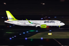 YL-CSF Air Baltic  Bombardier BD-500-1A11CSeries CS300 (buchroeder.paul) Tags: dus eddl dusseldorf international airport germany ground night ylcsf air baltic bombardier bd5001a11cseries cs300