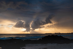 Sunburst (armct) Tags: sunrise coolangatta currumbin crepuscular rays sunbeams cloud formation cumulus collapse horizon shoreline shore waves surf basalt rocks skyline queensland sunshine silhouette reflection rain mist stormfront storm shower buildings cityscape golden morning