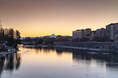 Sunset in city (Pierluigi Gualano Photography) Tags: sunset italy bridge color alps winter turin torino piemonte landscape cityscape city reflections città piedmont europe nikon nikond850 nisifilters nisi hdr river fiume po fiumepo water architecture sigmaart sigmalens urbanlandscape world bestsunset tramonto urban long exposure