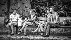 Two on a bench in Stockholm, Sweden 9/8 2014. (photoola) Tags: stockholm hammarbyhamnen bänk street sv bench photoola monochrome blackandwhite sweden