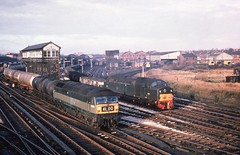 GLORY DAYS AT CHESTER (Malvern Firebrand) Tags: brush type4 class47 d1850 47xxx ee class40 d242 40042 depart chester general passing no4 signal box march 1967 cheshire 40xxx tankers minerals freight twotone green 1960s trackwork vehicles transportation trains railways br locomotives loco engine