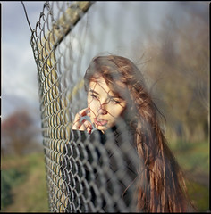 yesterday (steve-jack) Tags: hasselblad 501cm 50mm cfi kodak ektar 100 120 6x6 film girl portrait fence tetenal c41 kit epson v500