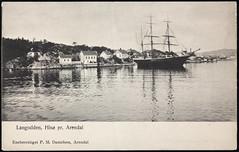 Postkort fra Agder (Avtrykket) Tags: bark bolighus brygge hus kamchatka postkort seilskute uthus arendal austagder norway nor