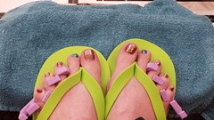 OntheRocks-HighTide - ILNP (OkieToes) Tags: male guy men man masculine nail nails toes toenail toenails toe foot feet pedicure pedi sandal sandals polish lacquer gloss finish shine glossy fun daring ilnp sparkly brown blue