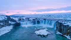 The Godafoss Waterfall In Iceland. Aerial View And Top View. (farenexusnexus) Tags: aerial adventure backpacker backpacking beach blue camping cold dettifoss europe extreme frozen glacier godafoss gullfoss hike hiking ice iceberg iceland icelandic island landscape mountains national nature ocean outdoor park people sand scenic sea selfoss snow svartifoss tourism travel traveler view water waterfall weather white winter