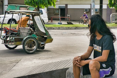 Watching (Beegee49) Tags: street man sitting watching tricycle motorbike happy planet sony a6000 bacolod city philippines asia cyclist