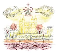 The tower of London (Sharon Farrow) Tags: london londonillustration londonlandmarks londonbuildings illustration illustrator illustratedbuildings crown jewels city cityillustration handdrawn mixedmedia pen pencil paint acrylic watercolour buildings historicbuildings history