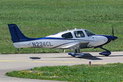 N224CL - 2015 build Cirrus SR22T GTS, Platinum, taxiing for departure on Runway 24 at Friedrichshafen during Aero 2018 (egcc) Tags: 0995 aero aerofriedrichshafen aerofriedrichshafen2018 bodensee cirrus cirrusdesign dejam edny fdh friedrichshafen gts lightroom n224cl platinum sr22t