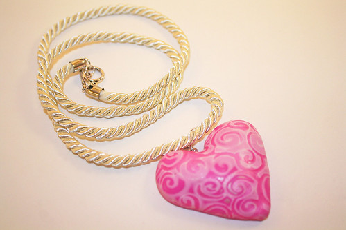 Polymer Embossed Hollow Heart Pendant