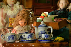 Let's make tea (PentlandPirate of the North) Tags: macromondays brew tea coffee dolls bananas sweetex mcvities hmm china miniature teapot