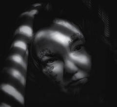 Lover of the light.... (Southern Darlin') Tags: me self selfportrait portrait photography photo people woman light shadow bw blackandwhite black white bnw