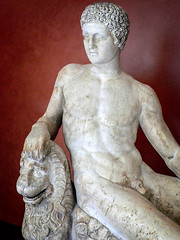 Closeup of Dionysos with lion garden statuary from Latium region of Italy Roman marble (mharrsch) Tags: dionysos dionysus god deity mythology roman lion ancient sculpture statue male seated latium italy pennmuseum university pennsylvania museum archaeology anthropology philadelphia mharrsch