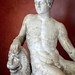 Closeup of Dionysos with lion garden statuary from Latium region of Italy Roman marble