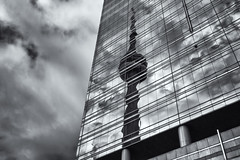 'Obviously Not' (Canadapt) Tags: building sky reflection cntower bw toronto canadapt