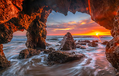 Malibu Sunset Seascape Sea Cave Fine Art Landsape Photography! Elliot McGucken Pacific Ocean El Matador State Beach Fine Art Photography! California HDR High Res 8K Fine Art! Red Orange Yellow Colorful Clouds! Sony A7RII Carl Zeiss 16-35mm f/4 ZA OSS Lens (45SURF Hero's Odyssey Mythology Landscapes & Godde) Tags: orange malibu sunset seascape sea cave fine art landsape photography elliot mcgucken pacific ocean el matador state beach california hdr high res 8k red yellow colorful clouds sony a7rii carl zeiss 1635mm f4 za oss lens