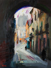 Spanish Cityscape with an Old Archway (http://annafineart.net/) Tags: expressionism imprrssionist contemporary modernart gallery artstudio spain pleinair oilcolors mixed mixedmedia modern landscape landscapes annafineart abstract abstractart abstractpainting art arts painter dailypainter artist oil painting paintings fineart finearts oilmedia oilpainting impasto cityscape city town granada spanish cityscapes street gente pintura colores pastel foto