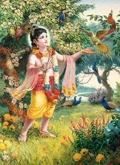 Krishna befriends and plays with parrots (infiniteys) Tags: prince hindu india garden cowherd happy flute krishna youth culture art nature pastime recreation play music divine blissful beautiful religion love ideal enchanter enchant bhakti worship devotion faith boy gopala indian forest mythology child person animal pet outdoor happiness living picnic relaxation kid affection sacred holy sweet melody melodious grass tree village haven rural exotic parrots vrindavan celestial heavenly birds befriend enticing