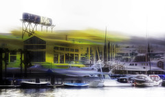 Bridges (beelzebub2011) Tags: canada britishcolumbia vancouver granvilleisland bridgespub boats falsecreek icm multipleexposure