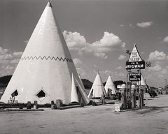 Wigwam Village No. 2, Cave City, KY. (1940). Photo by Marion Post Wolcott. (lhboudreau) Tags: outdoor outdoors attraction roadsideattraction roadsideamerica tepees teepees teepee tipi tipis wigwam wigwams wigwamvillage wigwammotel motel cavecity kentucky indian nativeamerican americanindian theme themed 1940 motorcourt motorcourts wigwamvillageno2 wigwamvillageinnno2 wigwamvillageinn motorinn monochrome blackandwhite blackwhite bw marionpostwolcott wolcott wigwamvillage2