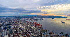 Port of Seattle (4 Pete Seek) Tags: columbiacenter observationtower seattle seattlewashington downtownseattle downtown cityscape seattlecityscape wideangle ultrawideangle superwideangle rokinon rokinon12mm rokinon12mmf2 mf manualfocus mirrorless