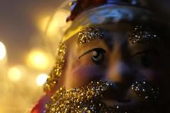 Holiday Bokeh ... (MargoLuc) Tags: macromondays theme holidaybokeh golden lights christmas tree ornament greetings peace festive bokeh santa