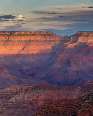 Canyon Sunset (In Explore - 24 Dec 2018) (TWK2011) Tags: grand canyon landscape rock rocky formation geology nature natural scene sunset moon clouds orange red colorful color travel image west arizona desert river colorado rim edge southwest mountain symbol 2018 sky adventure blue outcrop