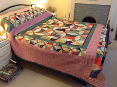 Flowering Snowball Patchwork Quilt (The Rustic Frog) Tags: flowering warwickshire uk england midlands central sewing stitched hand machine handmade made double bed quilt snowball templates template size large medium patchwork cotton padding